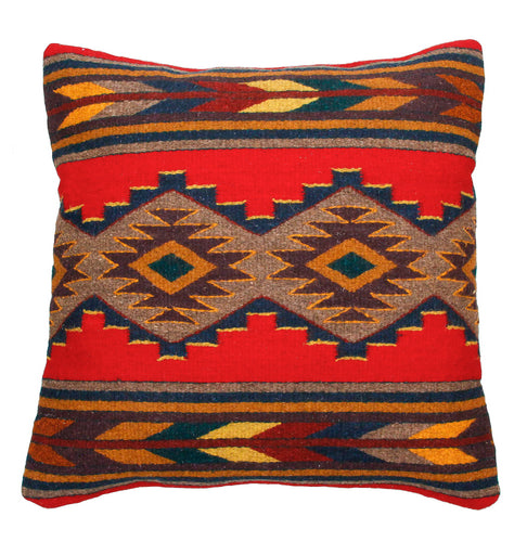 Handwoven Zapotec Indian Pillow - Efrain's Red Wool Oaxacan Textile