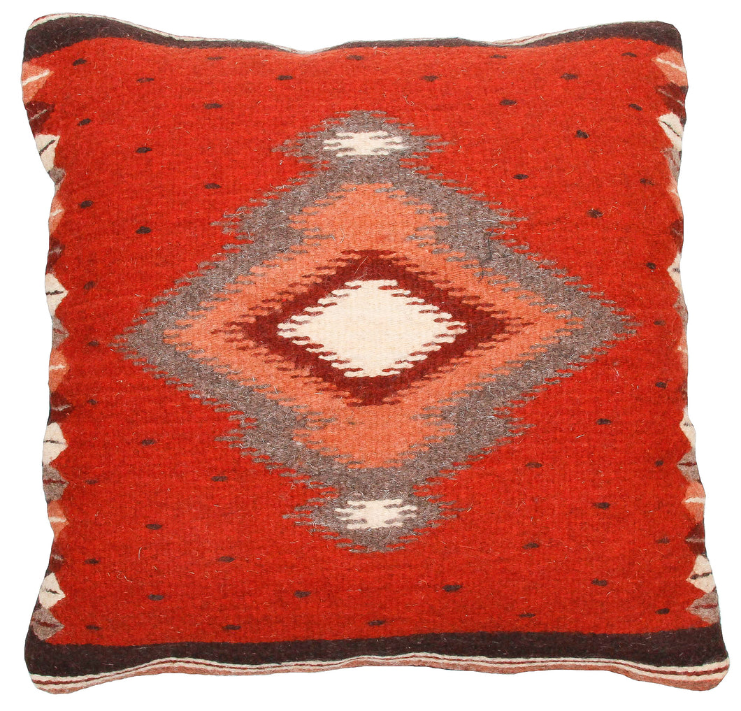 Handwoven Zapotec Indian Pillow - Soplador Rust Wool Oaxacan Textile