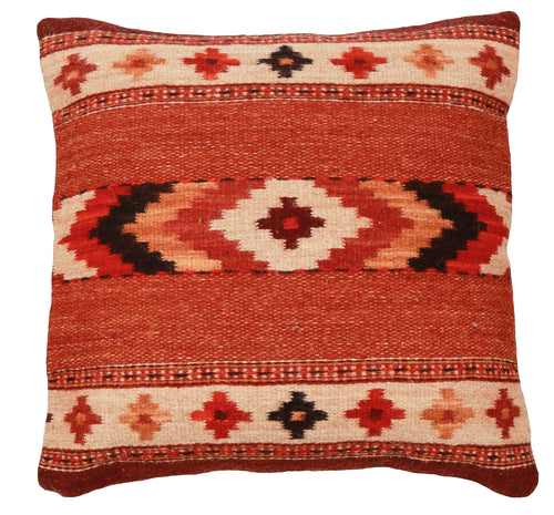 Handwoven Zapotec Pillow - Autumn Crosses Wool Oaxacan Textile