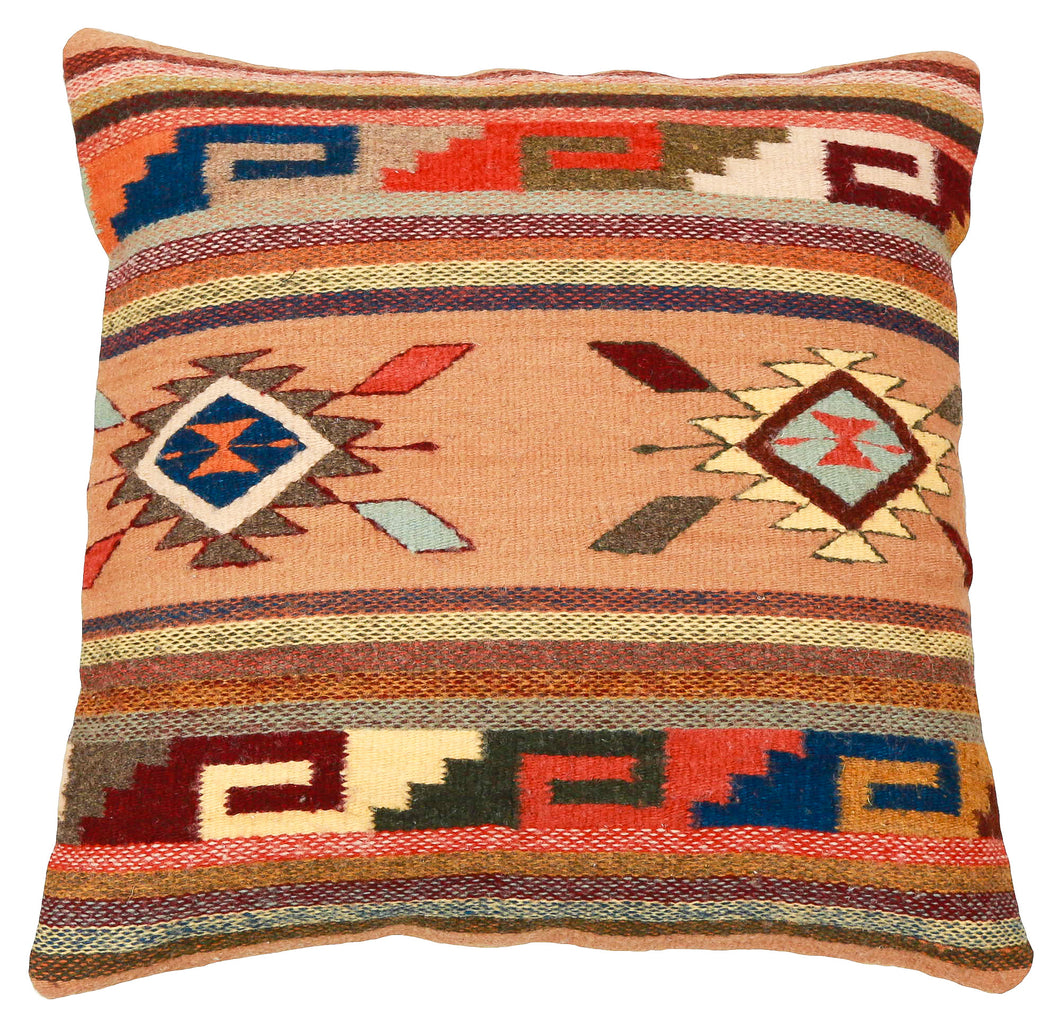 Handwoven Zapotec Indian Pillow - Ganchos y Medallion Wool Oaxacan Textile