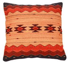 Load image into Gallery viewer, Handwoven Zapotec Indian Pillow - Zapotec Sunset Wool Oaxacan Textile