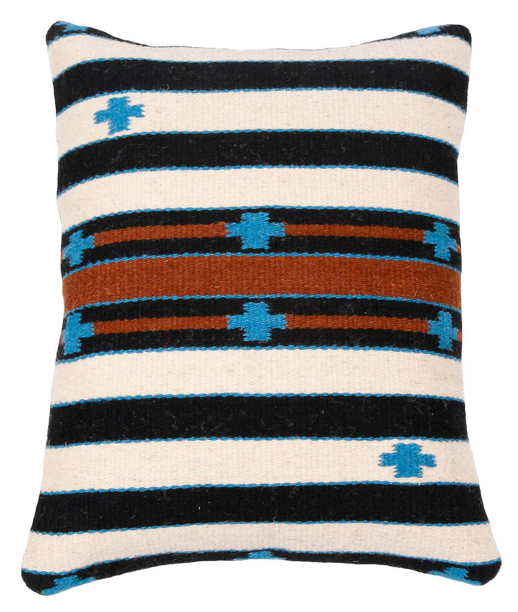 Handwoven Zapotec Pillow - Cloud Crosses Wool Oaxacan Textile