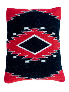 Handwoven Zapotec Indian Pillow - Diamond Medallion Wool Oaxacan Textile