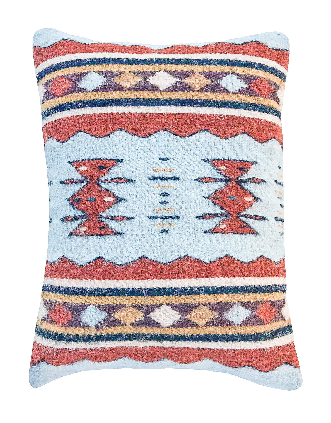 Handwoven Zapotec Indian Pillow - Meli's Waves Wool Oaxacan Textile