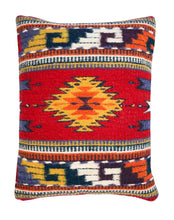 Load image into Gallery viewer, Handwoven Zapotec Indian Pillow - Ruby Bejeweled Wool Oaxacan Textile