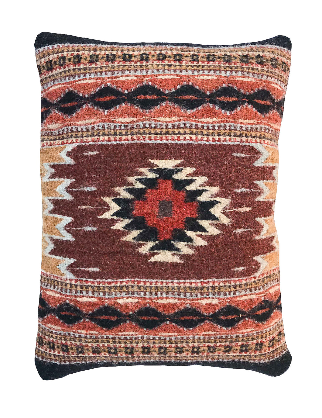 Handwoven Zapotec Indian Pillow - Saltillo Negro Wool Oaxacan Textile