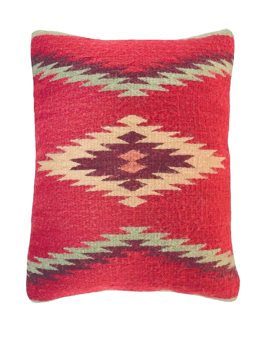 Handwven Zapotec Indian Pillow - Walk in Beauty Wool Oaxacan Textile
