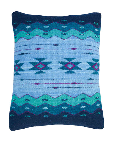 Handwoven Zapotec Indian Pillow - Zapotec Midnight Wool Oaxacan Textile