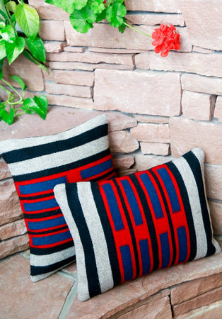 Handwoven Zapotec Indian Pillow - Chief Cintas Wool Oaxacan Textile