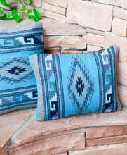 Load image into Gallery viewer, Handwoven Zapotec Indian Pillow - Diamante Azul Wool Oaxacan Textile