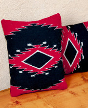 Load image into Gallery viewer, Handwoven Zapotec Indian Pillow - Diamond Medallion Wool Oaxacan Textile