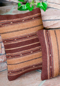 Handwoven Zapotec Indian Pillow - Earth Olas Wool Oaxacan Textile
