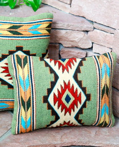Handwoven Zapotec Indian Pillow - Efrain's Diamantes Verdes Wool Oaxacan Textile