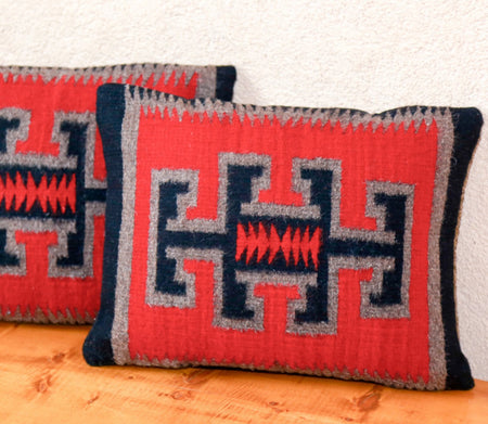 Handwoven Zapotec Indian Pillow - Kaibito Red Wool Oaxacan Textile