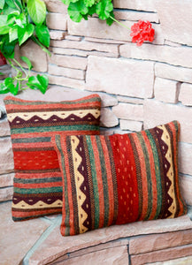 Handwoven Zapotec Indian Pillow - Montanitas Wool Oaxacan Textile