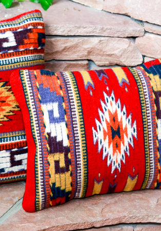 Handwoven Zapotec Indian Pillow - Ruby Bejeweled Wool Oaxacan Textile