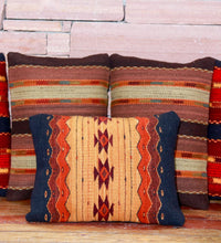 Load image into Gallery viewer, Handwoven Zaoptec Indian Pillow - Triquis Negro Wool Oaxacan Textile