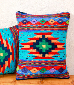 Handwoven Zapotec Indian Pillow - Turquoise Bejeweled Wool Oaxacan Textile