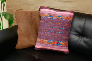 Handwoven Zapotec Indian Pillow - Violet Braids Wool Oaxacan Textile