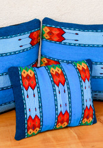 Handwoven Zapotec Indian Pillow- La Playa Wool Oaxacan Textile