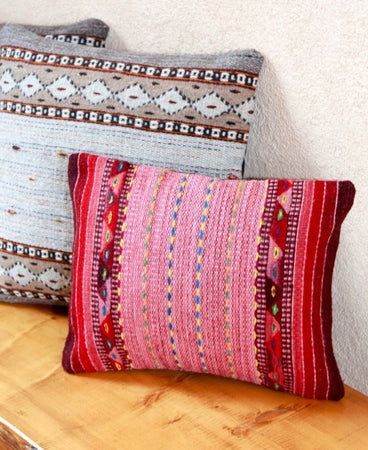 Handwoven Zapotec Indian Pillow - Rosie's Braids Wool Oaxacan Textile