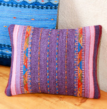 Load image into Gallery viewer, Handwoven Zapotec Indian Pillow - Violet Braids Wool Oaxacan Textile