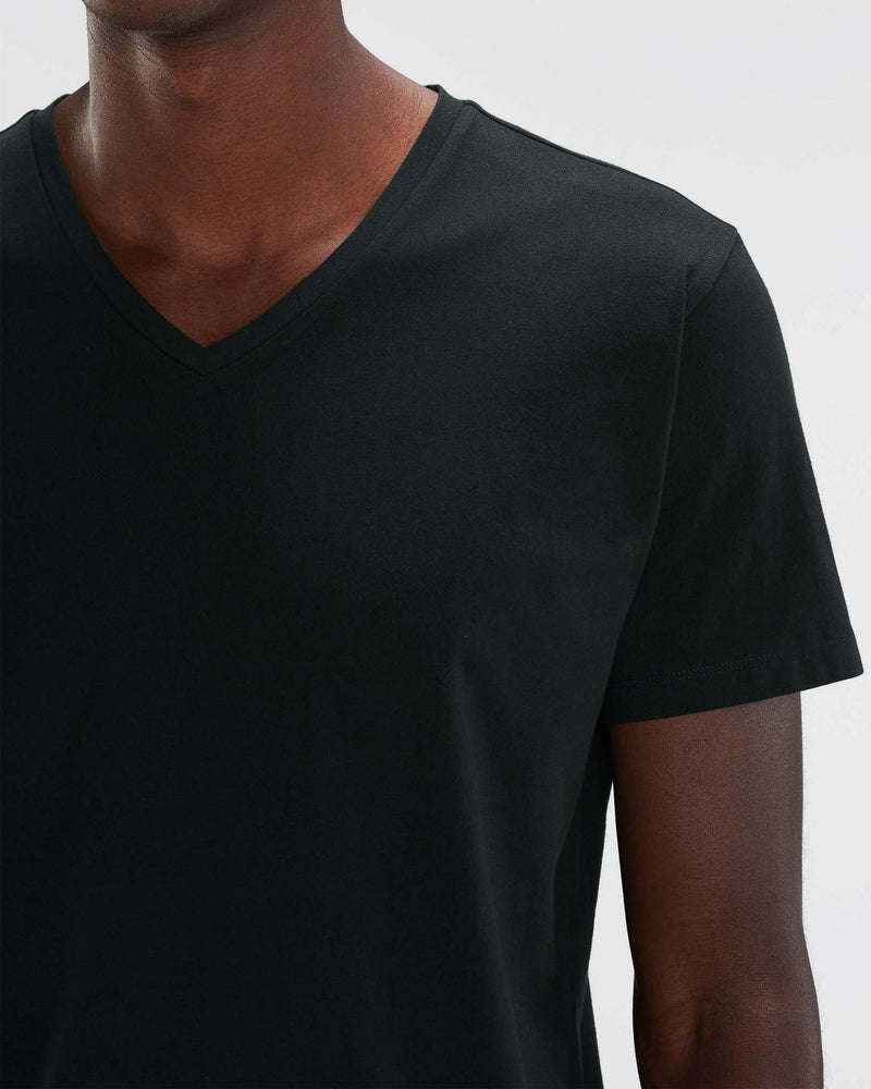 Men's Black Vneck Tee neck detail