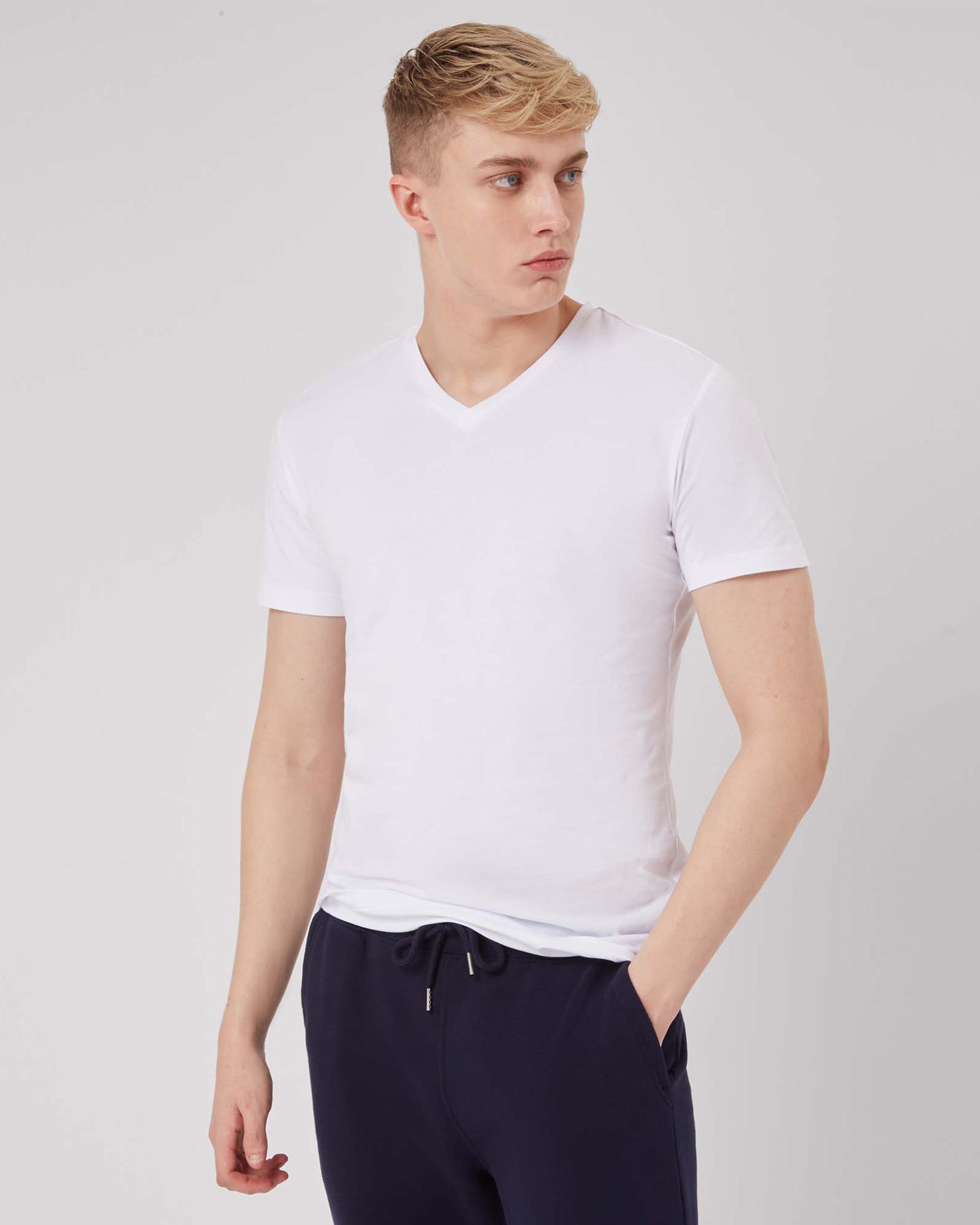 Men's white v-neck tee