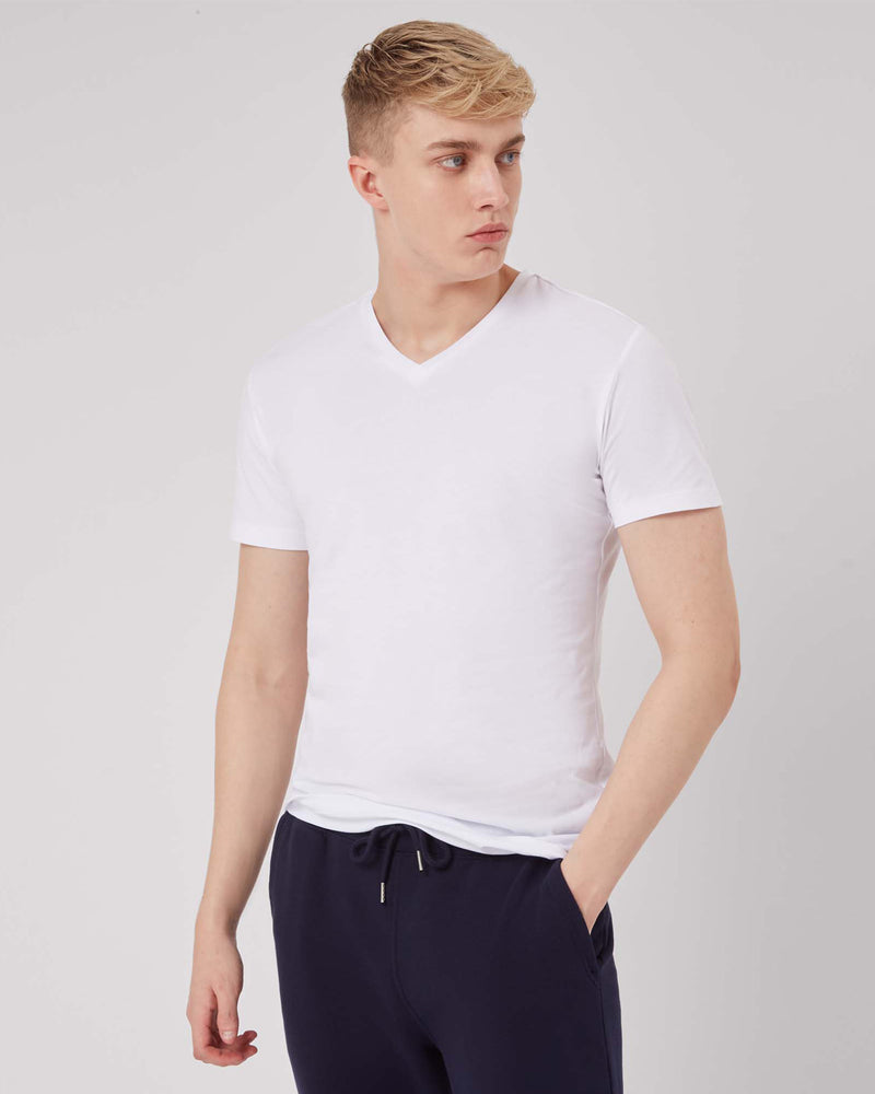 Men's White Vneck Tee