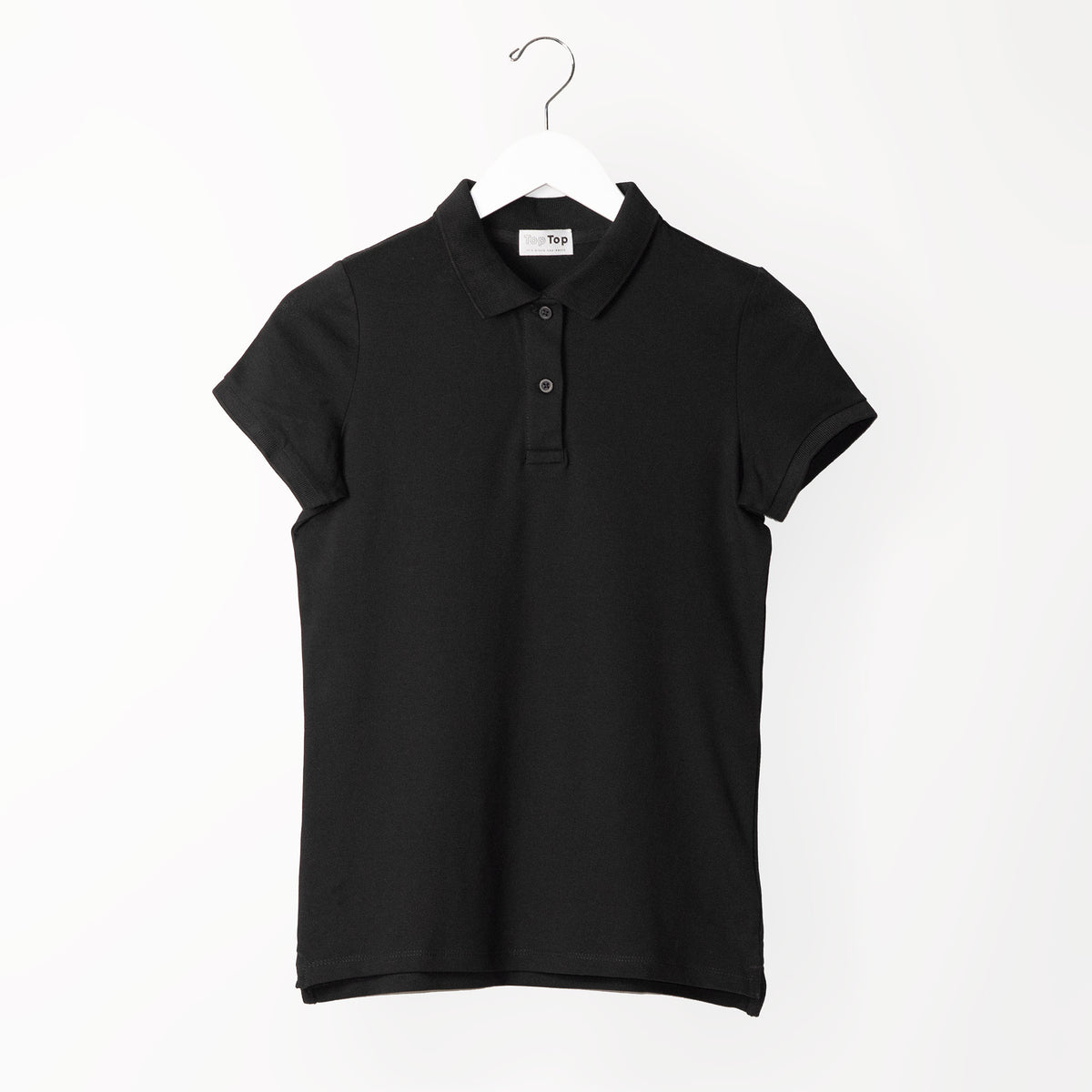 womens-black-polo-top