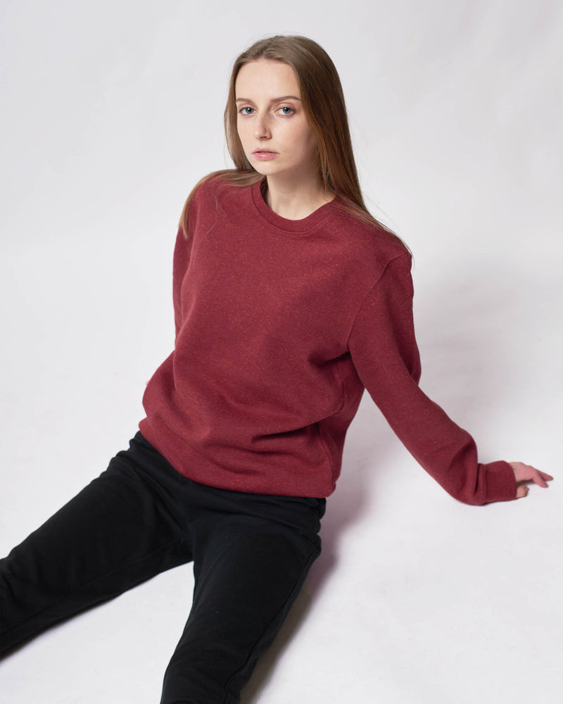 womens red sweatshirt brushed cotton