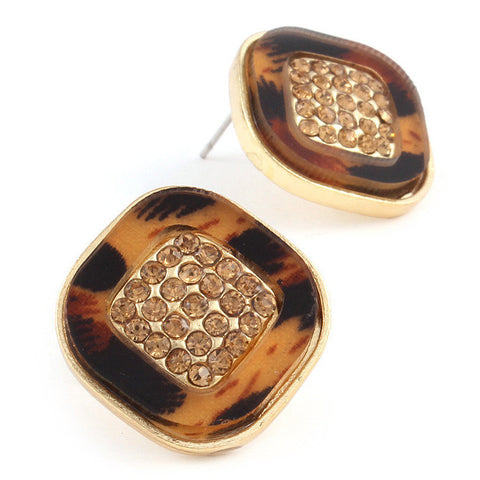 Animal Print Crystal Stud Pave  Earring Set