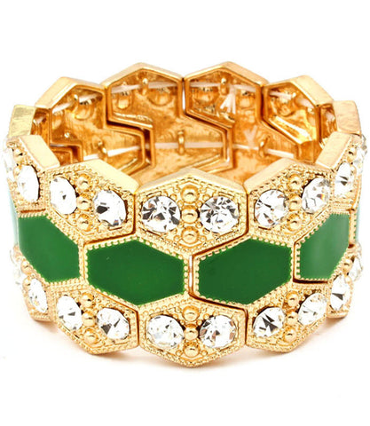 Gold, Green, Crystal Studs Bracelet
