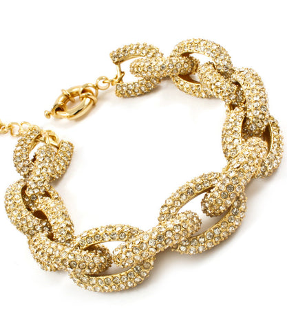 Gold Crystal Pave  Statement Bracelet