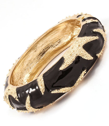 Gold Starfish Black Hinged Bracelet
