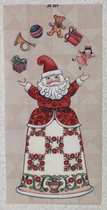 Mini Fabric Panel ~ Santa Juggling Toys