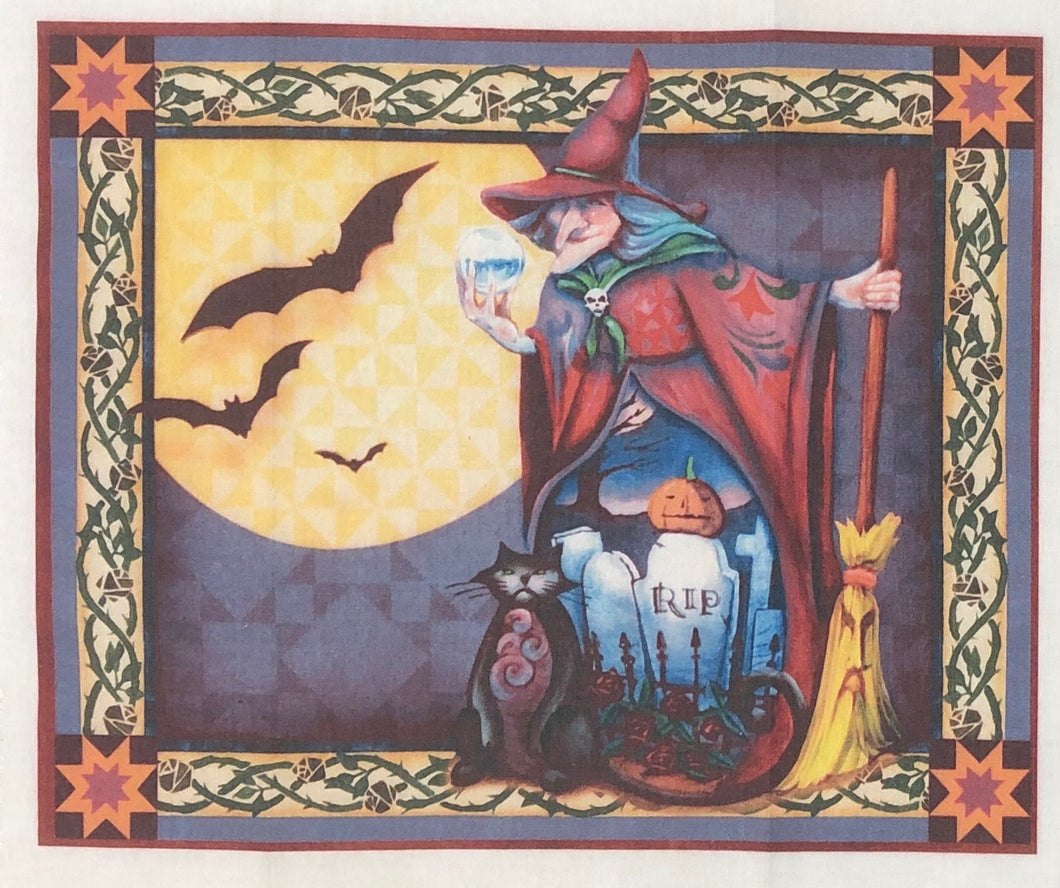 Mini Fabric Panel ~ Witch With Broom