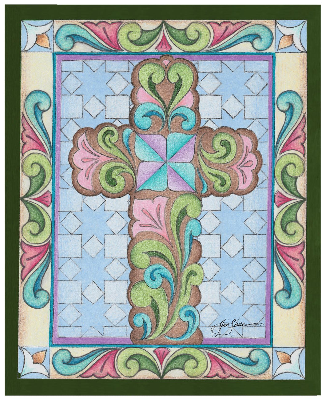 Rosemaling Cross ~ Sketch Art Print