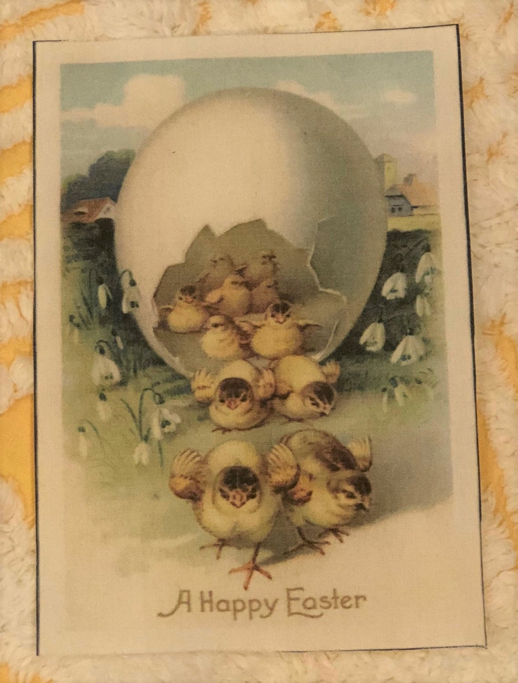 Fabric Postcard ~ A Happy Easter