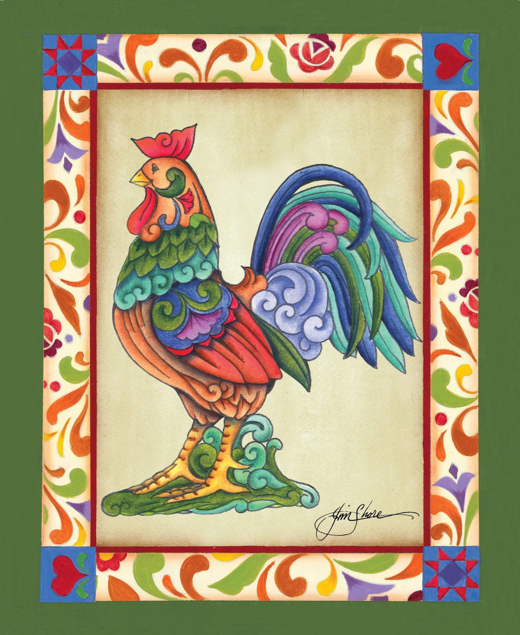 Colorful Rooster ~ Print