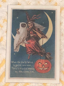 Fabric Postcard ~ Owl and Witch