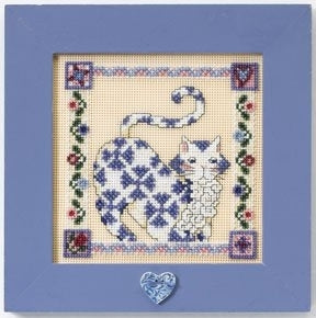 Cross Stitch Kit ~ Sapphire Quilted Cat