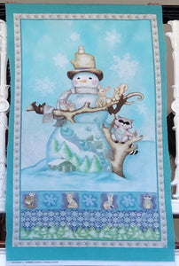 White Woodland Snowman & Friends ~ Panel