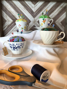 Tea Cup Pincushion ~ Blue & Cherries