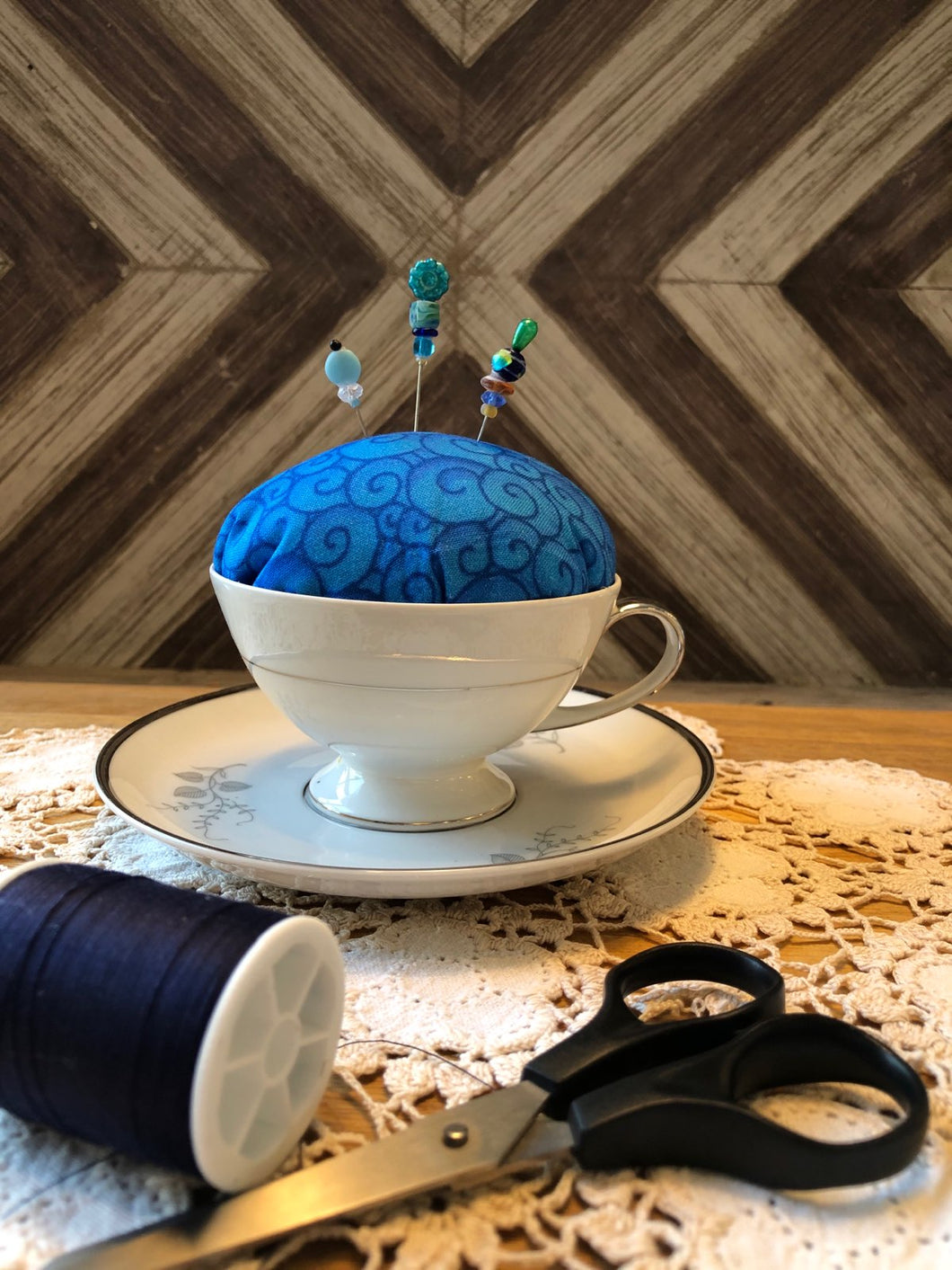 Tea Cup Pincushion ~ Swirls Blue
