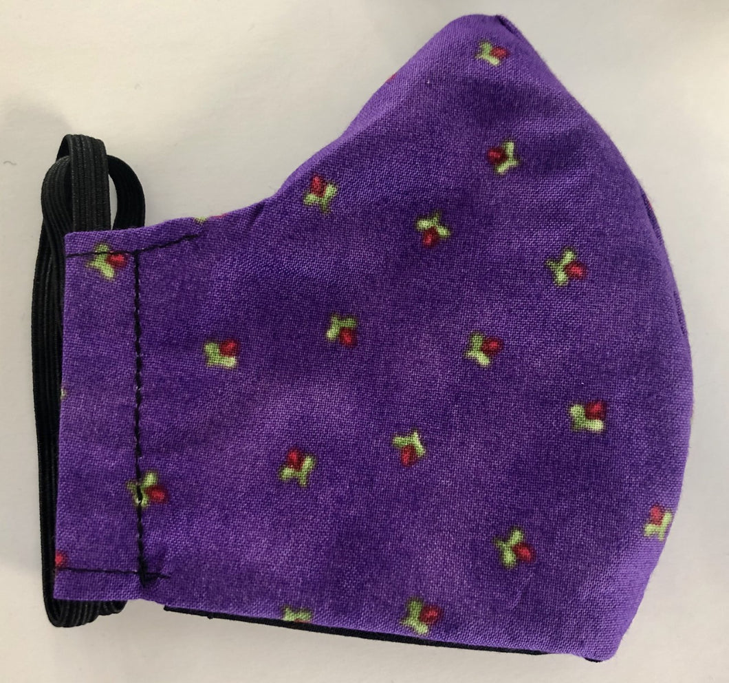 Fabric Face Mask - Purple & Tiny Roses