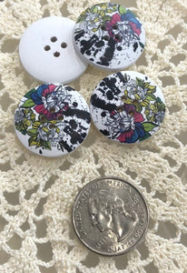 Wooden Floral Buttons ~ Multicolor w/ Black