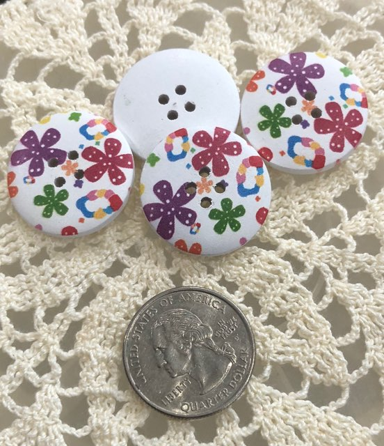 Wooden Floral Buttons ~ Purple, Pink, & Green