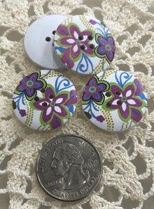 Wooden Floral Buttons ~ Purple & Blue