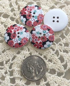 Wooden Floral Buttons ~ Red & Teal